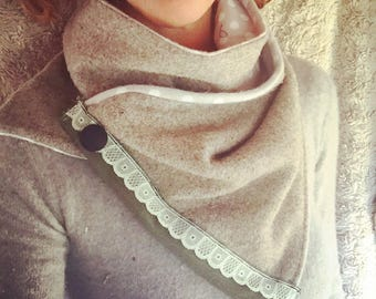 Upcycled Wool Wrap Scarf with Flannel lining