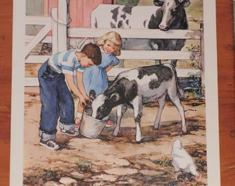 Children on the Farm Feeding the Cows
