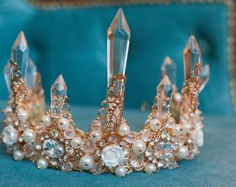 White Crystar Tiara Crown for wedding dress, diademe for evening dress, princess tiara wedding tiaras