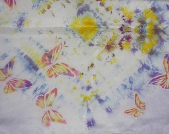 Batik Silk Scarf Butterfly Yellow Purple Colors