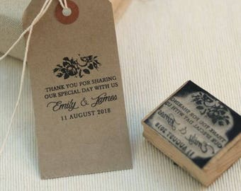 Personalised Thank you wedding favours rubber stamp vintage rose design