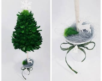 Handmade Christmas Tree with green feathers