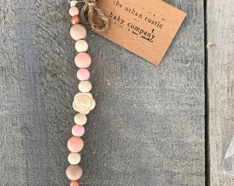 Pink, Cream and Rose Gold Pacifier Clip