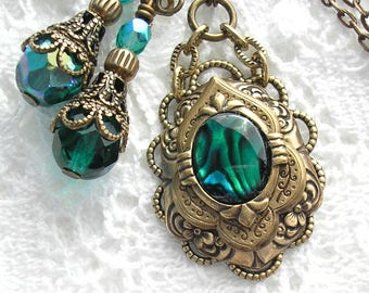 Green Paua Shell Pendant and Earring Set- Morning Glory Designs