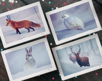 Winter Wildlife of Scotland; Set of 4 A5 Illustrated Christmas Cards