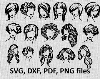 Woman SVG/ Woman DXF/ Woman Clipart/ Woman Files, Woman  cutting, Woman silhouette, DXF, hairstyle, female svg, female silhouette, hair svg
