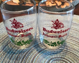 Set Of 2 Vintage Anheuser Busch Budweiser Barrel shot glasses or shell glasses