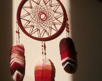 Dreamcatcher red Dream Catcher Feathers with Thread Wall decor