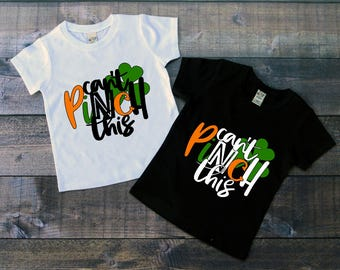 Children's Saint Patricks Day Tee Shirt, St Paddys Day Tee, Cant Pinch This, Black or White Tee, Infants, Toddler, Youth, Unisex t-shirt