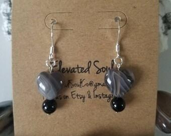 Agate + Onyx Earrings #4