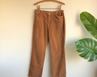 Vintage 90's Brown Velvet Hip huggers Pants by D. Terrell Size 10