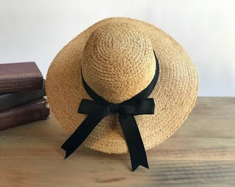 Vintage Woven Straw Hat with Black Bow