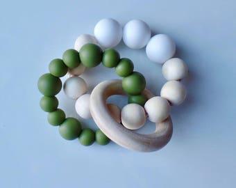 Wood & Silicone Infinity Teether, Teething Ring, Baby Teether, Baby Shower Gift