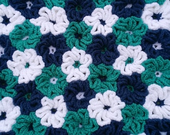 Crocheted 3 Color Flower Rug