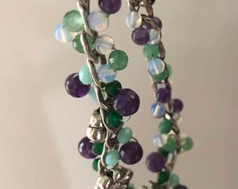Bracelet- amethyst, jade, opelite, sterling