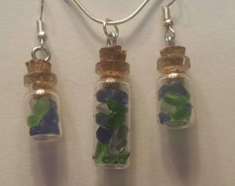 Blue Friday unique Sea hawks jewelry BEACH GLASS SET