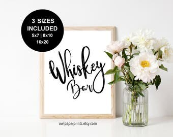 Whiskey Bar Sign - Printable PDF, Signs, Drink, Table, Station, Wedding, Event, Birthday, Groom, Bachelor