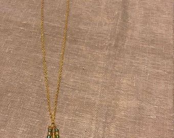 Chain necklace with pendant green/yellow gold