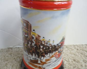 "1992 Budweiser Christmas Stein features Clydesdale Horses made in Brazil an 7"" tall ceramic"