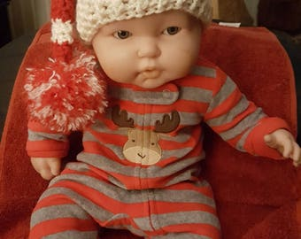 Hand crocheted baby elf hat 0 to 6 months