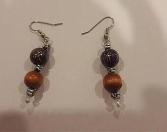 wood and metal beaded earrings