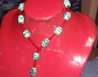 Red with Crystal murano glass bead