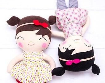Hand made doll, rag dolls, modern doll,  fabric doll, cloth doll, gift for a girl,