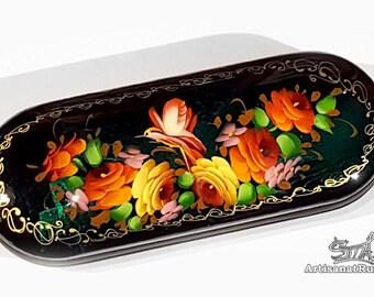 Glasses case, glasses case, glasses case hard sunglasses case box. Flowers. Jostovo school. (Ref:10.14 - 2).