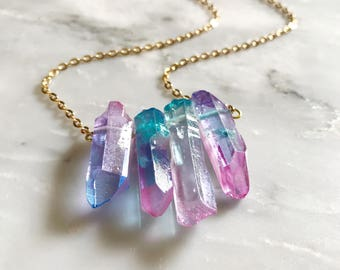 Layered Crystal Necklace with Pink and Blue Crystals