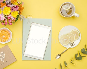 Tablet Mockup, Stock Photos, Styled Stock Photography, Stock Images, Styled Stock Photo Mockup, Social Media, Photos For Instagram, Yellow