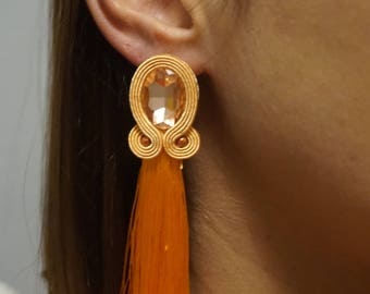 orange soutache earrings