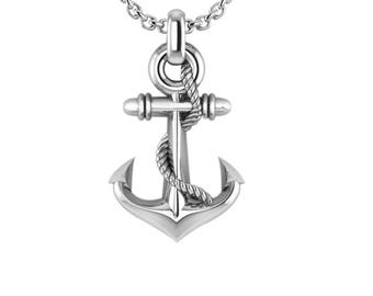 "Anchor Necklace with 24"" Curb Chain for Men, Perfect for Birthday / Valentines / Special Occasion"