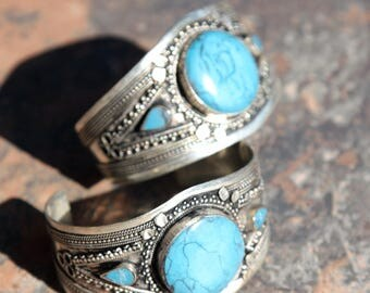 BRACELET Pair (2pcs) Turkoman Tribal Real TURQUOISE Gold Plated BellyDance 502a77