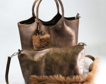 Women Bag leather Brown color -made by hand - sheep fur