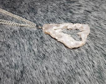 White Druzy Agate Geode Pendant Necklace