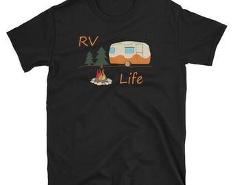 RV Camping T-Shirt For RV Life Recreational Vehicle Fans / Marshmallow Camp Fire Road Travel Tee In The Woods For RV Owner Family Vacation