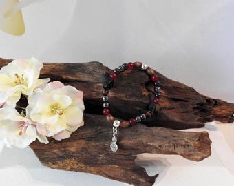 Natural Hematite, Garnet, Red Malaysian Jade, Tigers Eye & Black Agate healing gemstone stretch bracelet with swirl charm