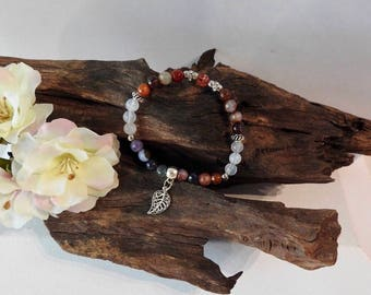 Natural Mixed Agates healing gemstone stretch bracelet with Leaf Charm
