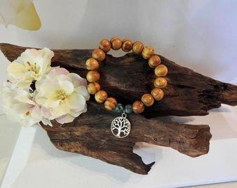 Natural Green/Blue Howlite & Wooden Bead healing gemstone stretch bracelet with Tree of Life Charm