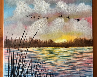 Geese flying at sunset oil painting signed
