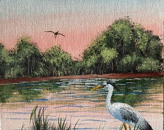 Hand painted magnet real acrylic painting art! 5x7 blue heron