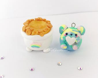 Rainbow Sprite Bear and Pot of Gold, Kawaii polymer clay charm and stand set