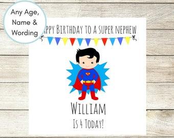 1st Birthday Card, Personalised Birthday Card, Superhero Card, Superman Birthday Card, Son Birthday Card, 3rd Birthday, Nephew Any Wording