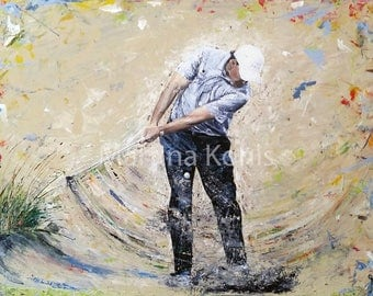 """Original Golf painting """"Golf Puzzle"""""""