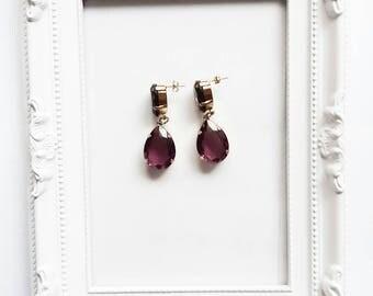 Purple Drops crystal earrings gold plated
