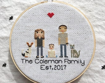 2nd Anniversary Cross Stitch Family Portrait Cross Stitch Couple Wedding Cotton Anniversary Gift Custom Pixel People Wedding Couple Portrait