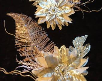 Golden Flower Hair Clip Set