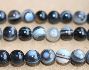 15 Inches Full strand,Black Eyes Agate Smooth round beads 6mm 8mm 10mm 12mm beads,loose beads,semi-precious stone