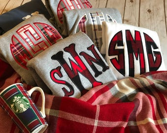 Buffalo Plaid Flannel Monogrammed Sweatshirt