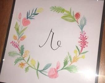 Monogram Flower and Greens Wreath